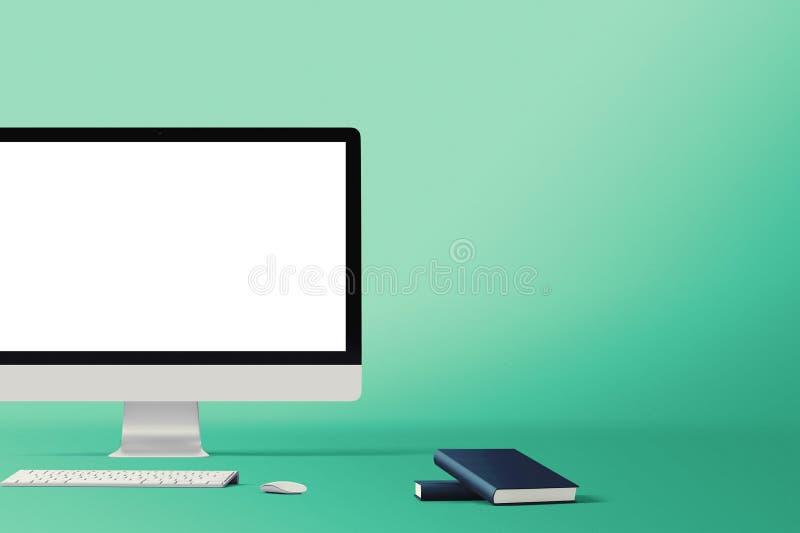 Werkruimteachtergrond Heldenkopbal Geïsoleerde computer de schermen stock illustratie