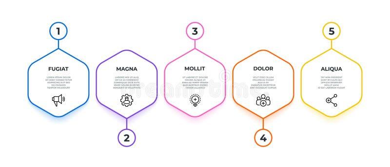 Werkschema Infographic de stroombanner van het 5 optieswerk, chronologie van de bedrijfspresentatie de grafische, hexagon mijlpaa stock illustratie