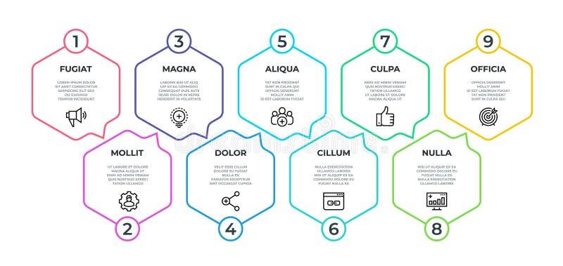 Werkschema Infographic 9 grafische stapstroom, chronologie minimalistische hexagon banner, bedrijfspresentatiegrafiek Vector 9 vector illustratie