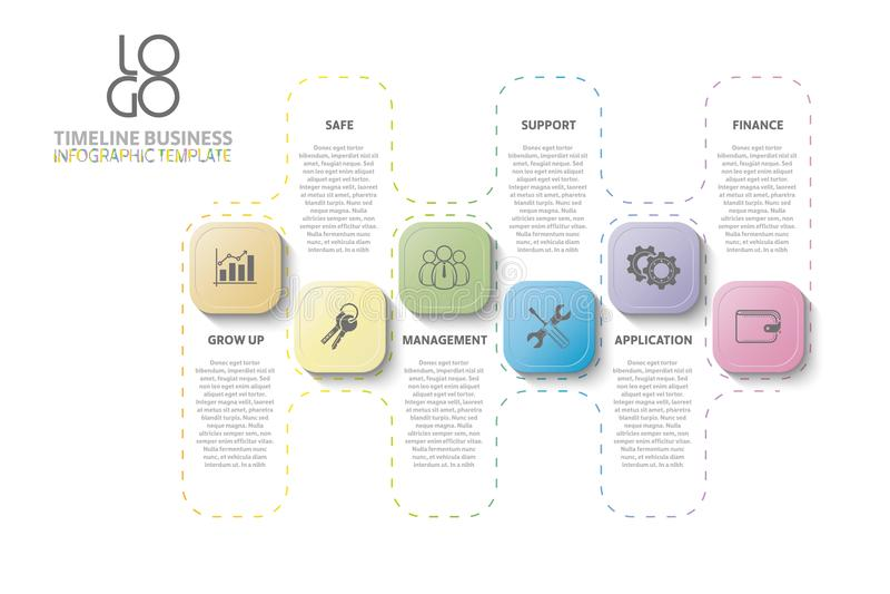 Werkschema, jaarverslag, chronologie, infographics stock illustratie