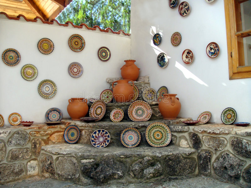 Werkstatt des Töpfers. Bulgarien 2008 stockbild