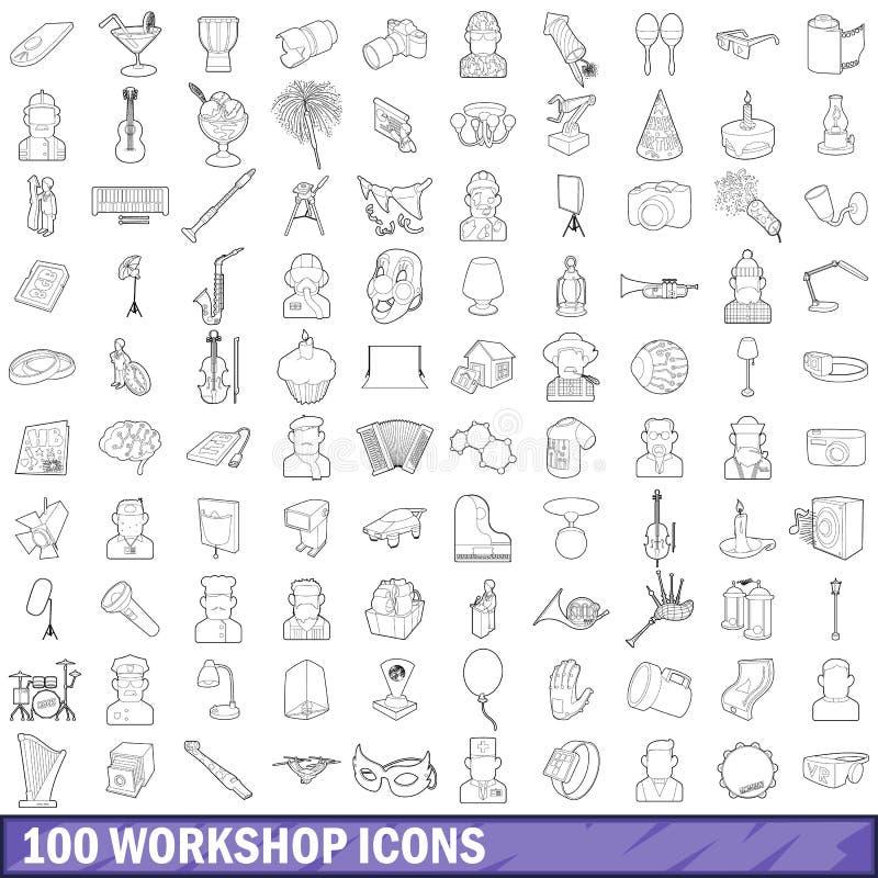 100 Werkstattikonen eingestellt, Entwurfsart lizenzfreie abbildung