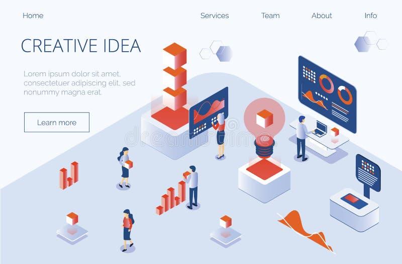 Werkt het in gradiënt vlakke isometrische concept creatief idee, team, marketing stock illustratie