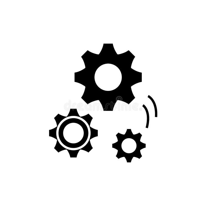 Werktuigbouw zwart pictogram, vectorteken op geïsoleerde achtergrond Het symbool van het werktuigbouwconcept royalty-vrije illustratie