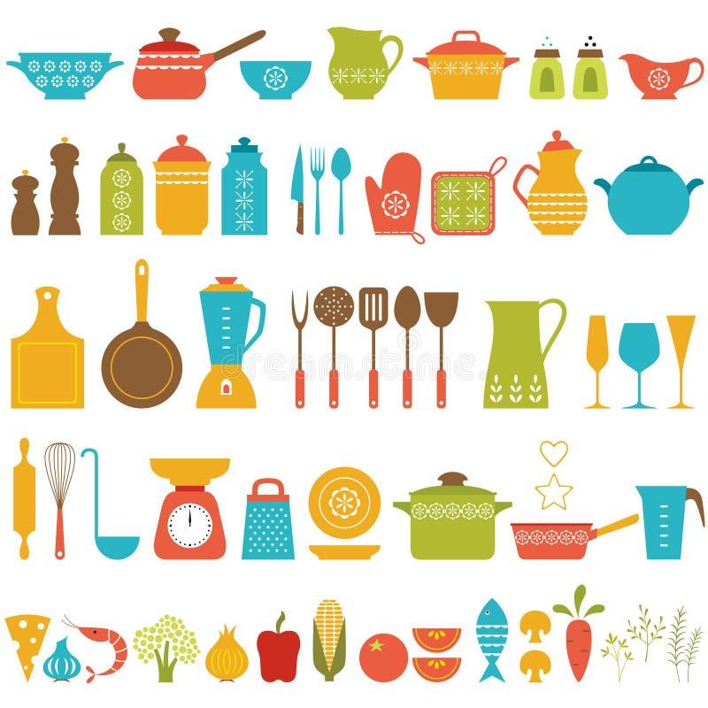 Werktuigen en getrokken voedselhand royalty-vrije illustratie