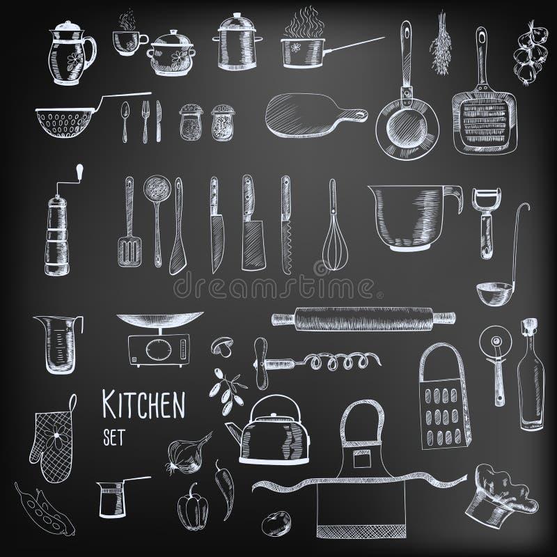 Werktuigen en getrokken voedselhand vector illustratie