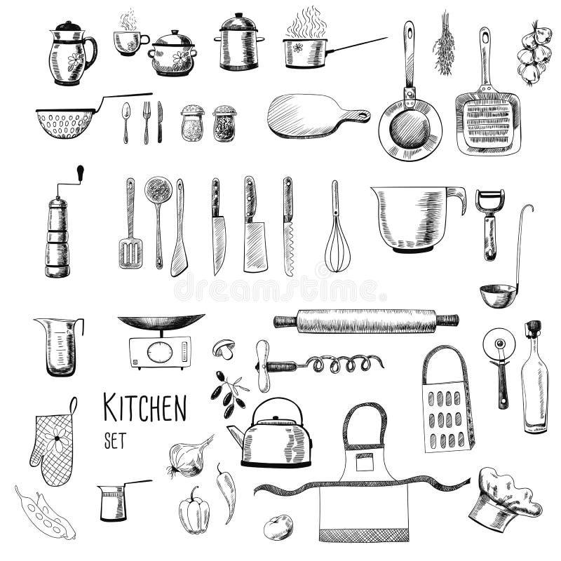 Werktuigen en getrokken voedselhand royalty-vrije stock afbeeldingen