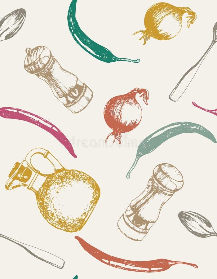 Werktuigen en getrokken voedselhand Hand-drawn naadloos patroon vector illustratie