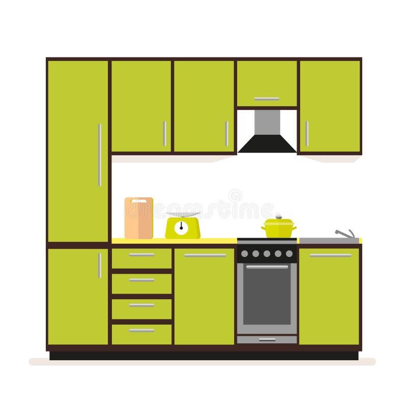 Werktuigen en getrokken voedselhand Modern keukenmeubilair in een vlakke die stijl op een witte achtergrond wordt geïsoleerd royalty-vrije illustratie