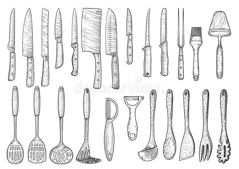 Werktuigillustratie, tekening, gravure, inkt, lijnkunst, vector royalty-vrije illustratie
