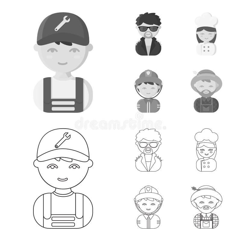 Werktuigkundige, entertainer, kok, brandweerman E stock illustratie