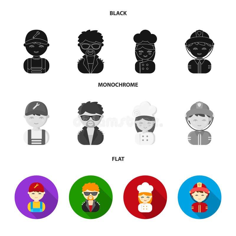Werktuigkundige, entertainer, kok, brandweerman Pictogrammen van de beroeps de vastgestelde inzameling in zwart, vlak, zwart-wit  royalty-vrije illustratie