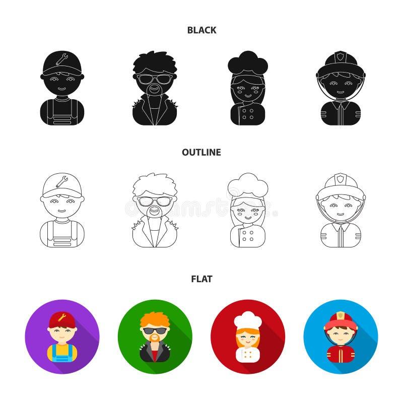 Werktuigkundige, entertainer, kok, brandweerman Pictogrammen van de beroeps de vastgestelde inzameling in zwarte, vlak, vector he stock illustratie