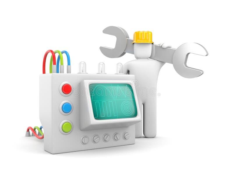 Werktuigkundige met apparaat vector illustratie