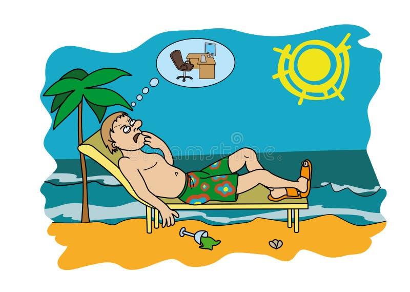 Werkverslaafde op vakantie die zich over het werk ongerust maken stock illustratie