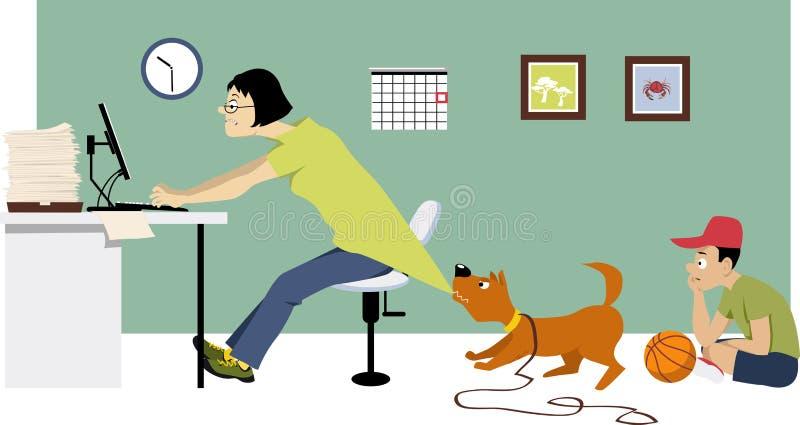 Werkverslaafdevrouw thuis vector illustratie