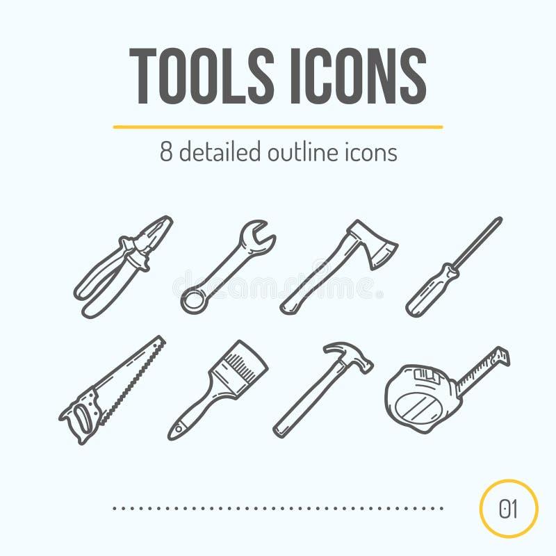 Werkzeug-Ikonen eingestellt (Zangen, Schlüssel, Axt, Schraubenzieher, Säge, Bürste, Hammer, Maßband) stock abbildung