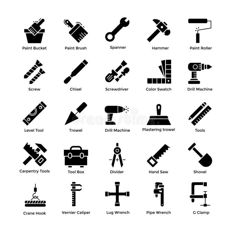 Werkzeug-Ikonen reparierend, verpacken Sie lizenzfreie abbildung