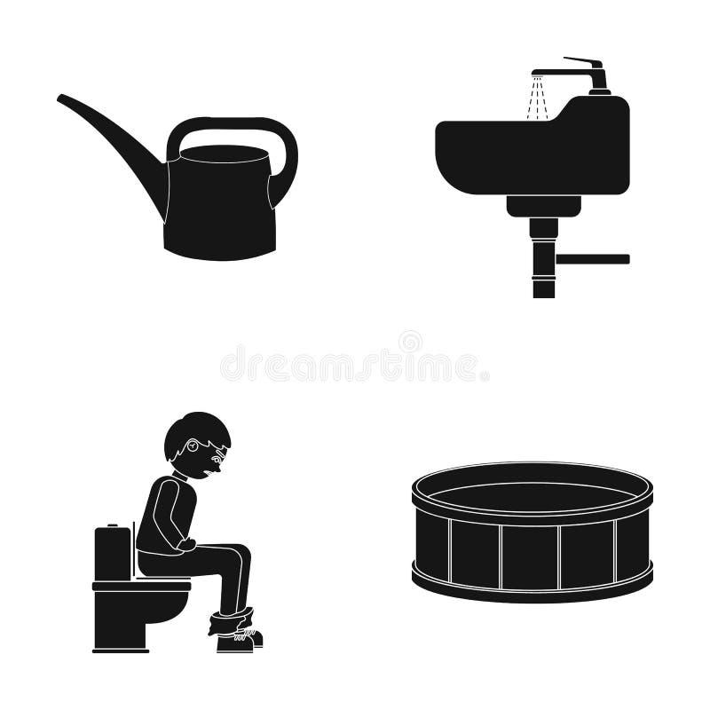 Werkzeug, Klempnerarbeit, Ausrüstung und andere Netzikone in der schwarzen Art Dekoration, Kasten, runde Ikonen in der Satzsammlu lizenzfreie abbildung