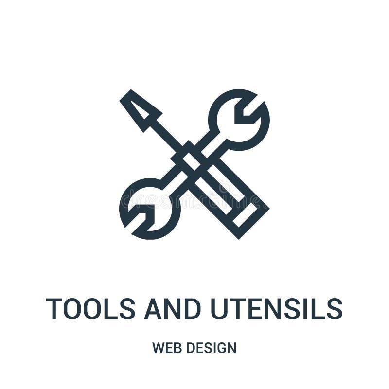 Werkzeug- und Gerätikonenvektor von der Webdesignsammlung Dünne Linie Werkzeuge und Geräte umreißen Ikonenvektorillustration stock abbildung