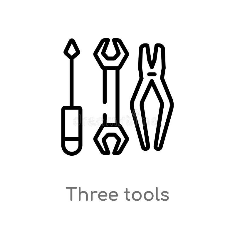 Werkzeug-Vektorikone des Entwurfs drei lokalisiertes schwarzes einfaches Linienelementillustration vom Baukonzept Editable Vektor stock abbildung