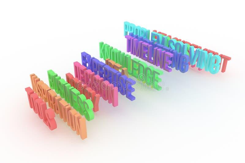 Werkzeuge, bunte begrifflichwörter 3D des Geschäfts Illustration, Hintergrund, Hintergrund u. Typografie vektor abbildung