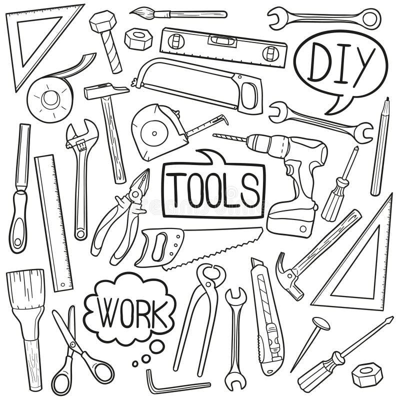 Werkzeuge DIY steuern Ausrüstungs-traditionelle Gekritzel-Ikonen-Skizzen-handgemachten Design-Vektor automatisch an vektor abbildung