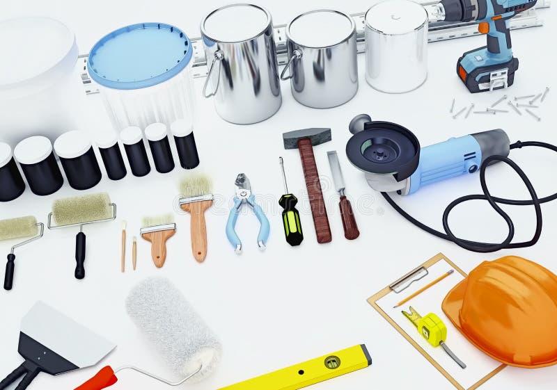 Werkzeuge für Bau und Erneuerung lokalisiert auf weißem backgrou stockbilder