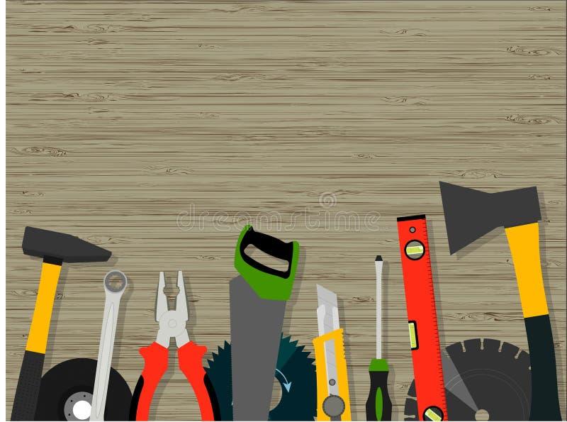 Werkzeuge für Bau und Reparatur einer hölzernen Beschaffenheit vektor abbildung