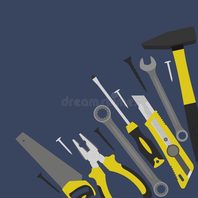 Werkzeuge für Bau und Reparatur sind in der Ecke vektor abbildung