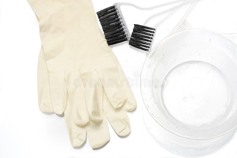 Werkzeuge für das Haarfärben stockfoto