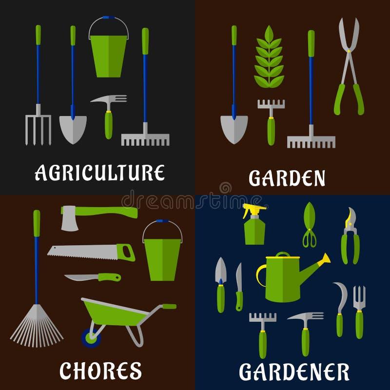 Werkzeuge für die Landwirtschaft und Gartenarbeitarbeit vektor abbildung