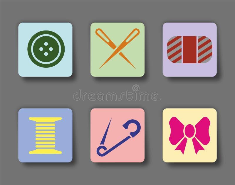 Werkzeuge flachen Nähens der Ikonen: Knopf, Nadel, Faden, Garn? vektor abbildung