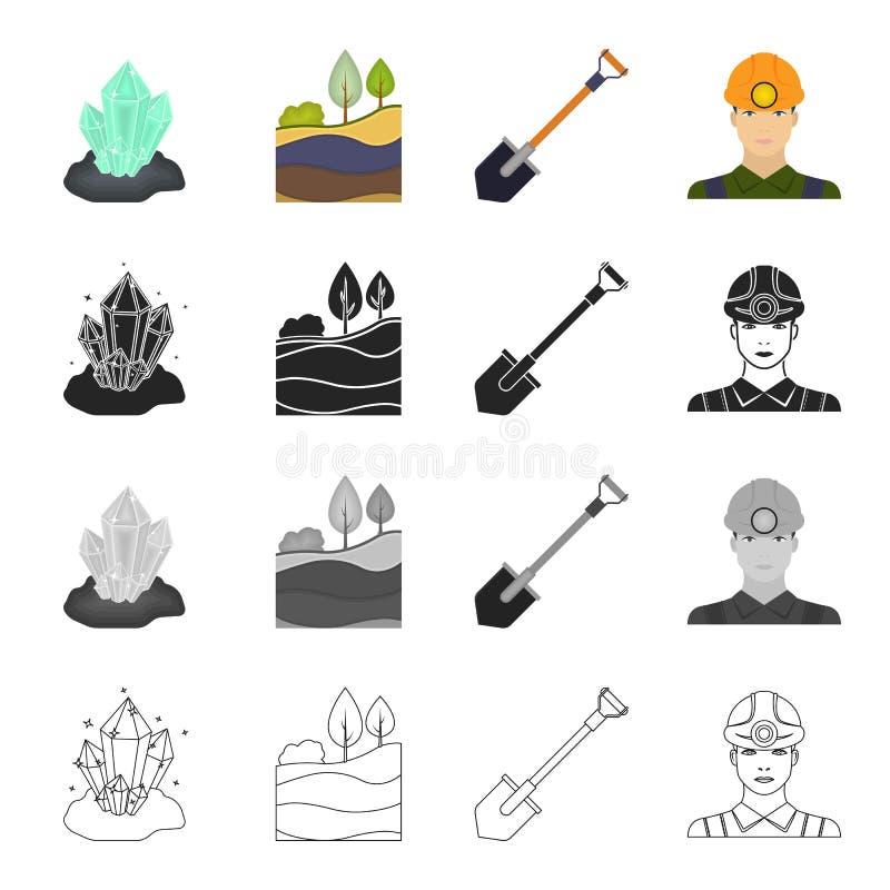 Werkzeuge, Fossilien, Ausrüstung und andere Netzikone in der Karikaturart Overall, Bergmann, Beruf, Ikonen in der Satzsammlung stock abbildung