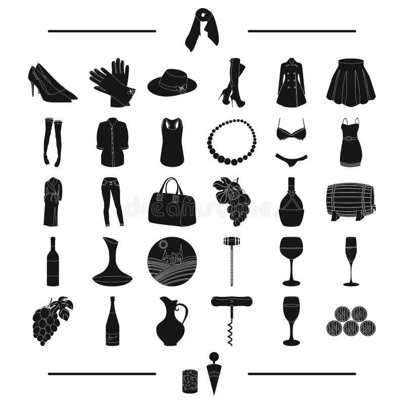 Werkzeuge, Früchte, Gewebe und andere Netzikone in der schwarzen Art Zubehör, Kleidung, Strickwarenikonen in der Satzsammlung stock abbildung