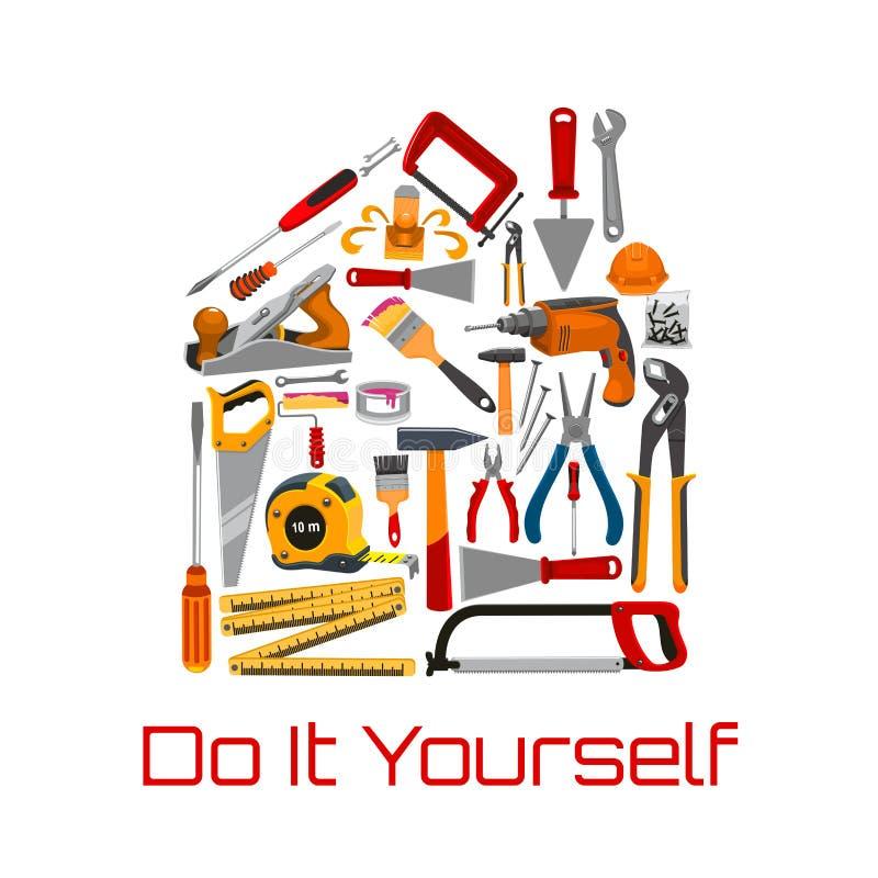 Werkzeuge oder Ausrüstung für Reparatur, errichtendes Instrument lizenzfreie abbildung