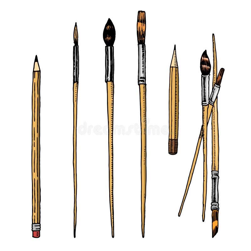 Werkzeuge und Materialien des Künstlers für das Zeichnen B?rsten und Bleistifte Kreative Leute des Handwerks Ausr?stung in der Ge vektor abbildung