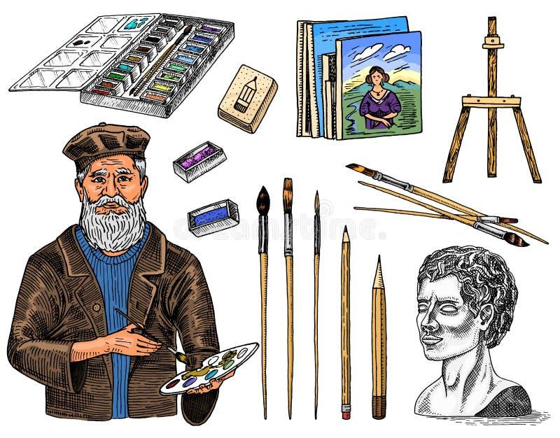 Werkzeuge und Materialien des K?nstlers f?r das Zeichnen in den Kunstsalon Gestell, Farben, Malereien, B?rsten, Bleistifte fertig vektor abbildung