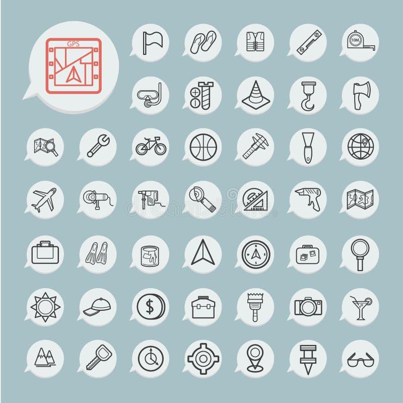 Werkzeuge und Reise-Ikone stellten auf blaues Papier ein lizenzfreie abbildung