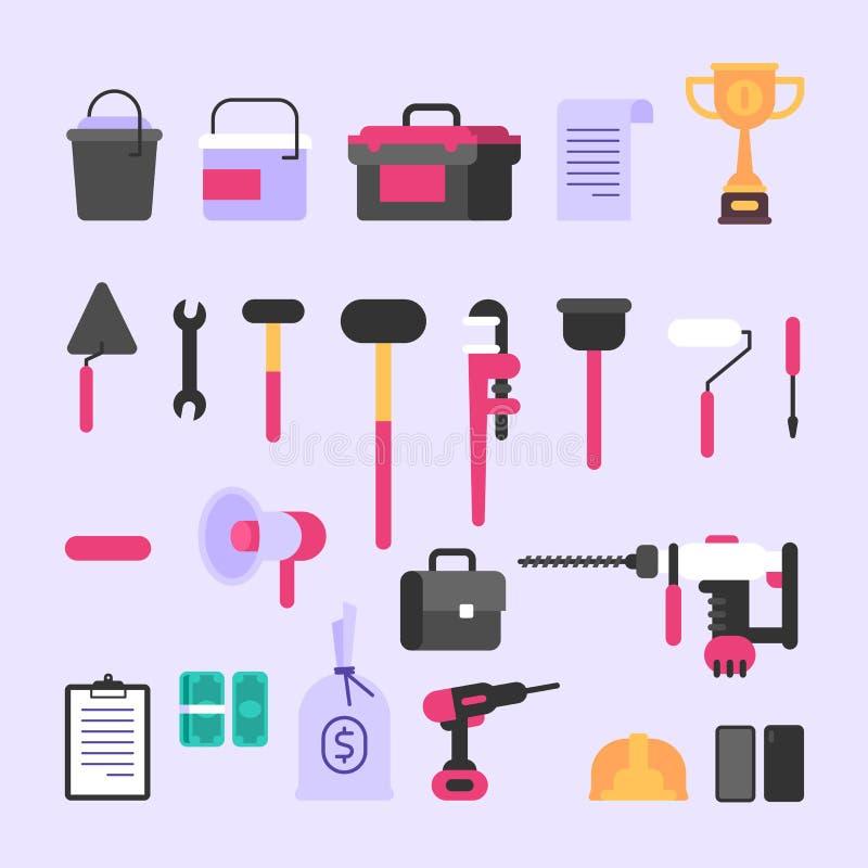 Werkzeuge und verschiedene Baueinzelteile Set Nachrichten stock abbildung