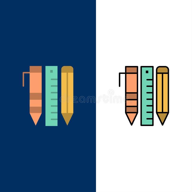 Werkzeuge, wesentliche Werkzeuge, stationär, Einzelteile, Pen Icons Ebene und Linie gefüllte Ikone stellten Vektor-blauen Hinterg stock abbildung