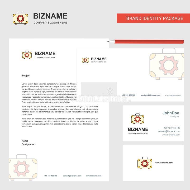 Werkzeugkasten-Geschäfts-Briefkopf, Umschlag und Visitenkarte Entwurfsvektorschablone stock abbildung