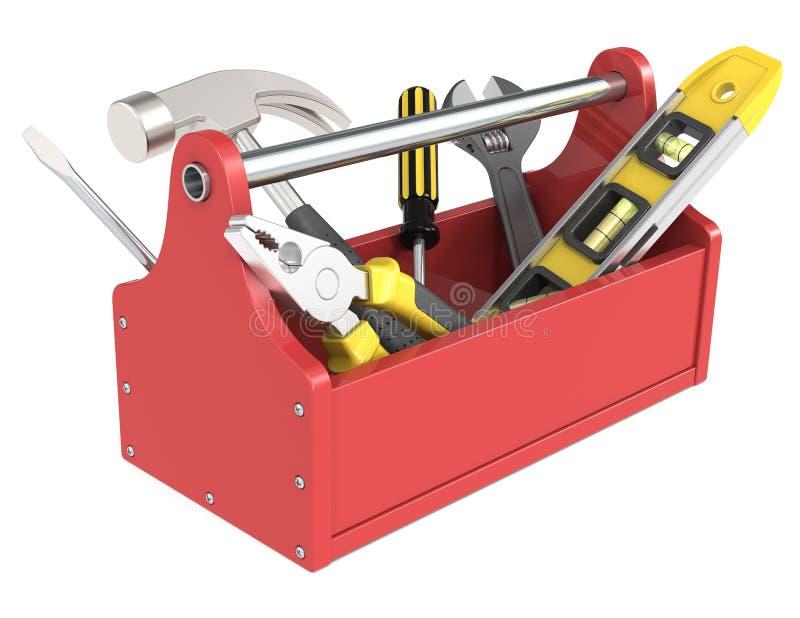 Werkzeugkasten mit Hilfsmitteln. lizenzfreie abbildung