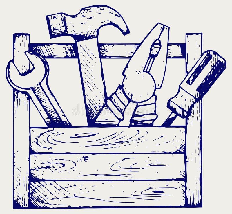Werkzeugkasten mit Hilfsmitteln lizenzfreie abbildung