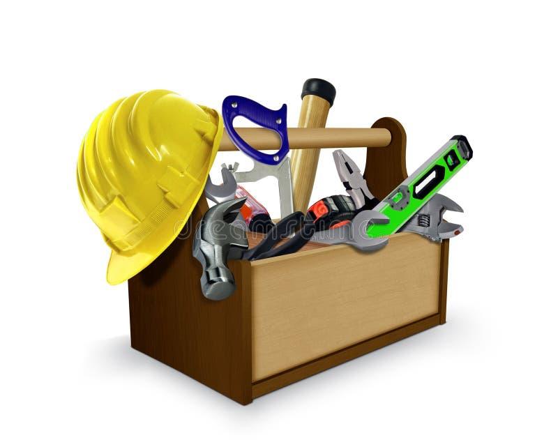 Werkzeugkasten mit Werkzeugen und Schutzhelm lizenzfreie abbildung