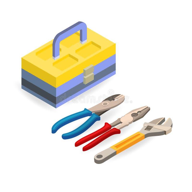 Werkzeugkasten, Schlüssel, Zangen Isometrische Bauwerkzeuge lizenzfreie abbildung