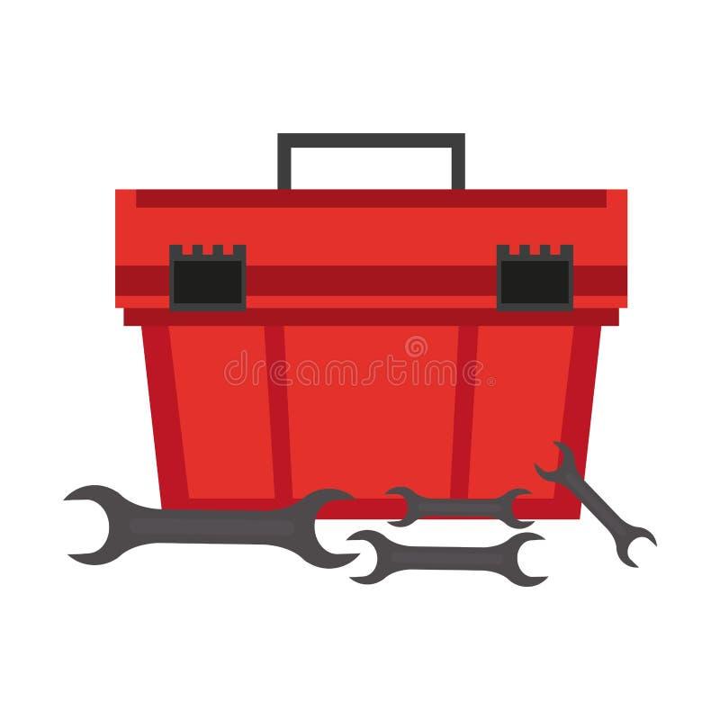 Werkzeugkasten- und Schlüsselreparaturausrüstung lizenzfreie abbildung