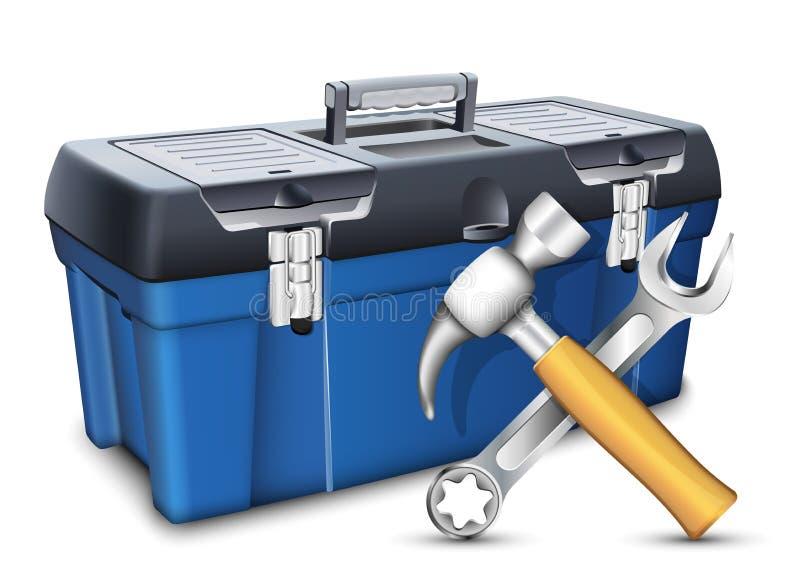 Werkzeugkasten und Werkzeuge Auch im corel abgehobenen Betrag vektor abbildung