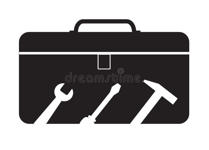 Werkzeugkastenikone auf weißem Hintergrund Werkzeugkastenzeichen lizenzfreie abbildung