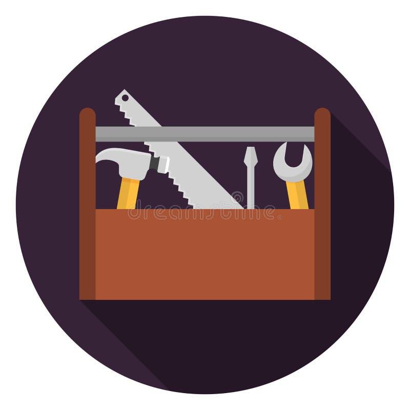 Werkzeugkastenikone im flachen Design stockfoto